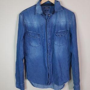 Zara Man | slim fit western denim snap up shirt